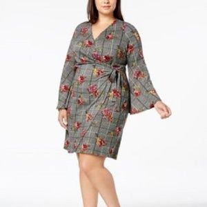 New NY Collection Wrap Day Work Bell Sleeve Dress